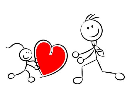 Daughter bringing big heart for her Daddy vector illustration