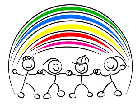 Kids or children hand in hand rainbow isolated on white 일러스트