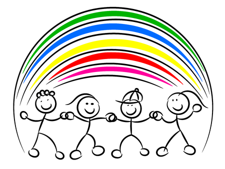 Kids or children hand in hand rainbow isolated on white Stock Illustratie