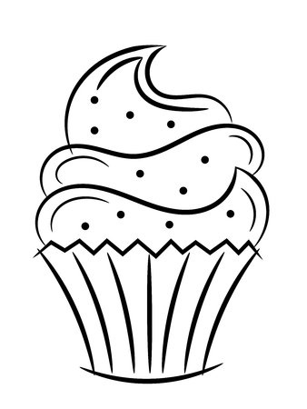 Cupcake sketch isolated on white  イラスト・ベクター素材