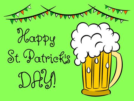 Happy Saint Patrick day mug beer isolated on white