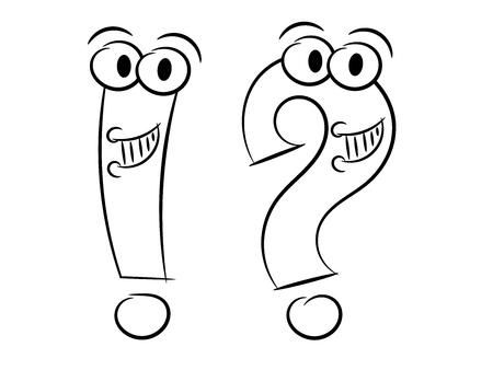 Vraag en uitroepteken karakter schets geïsoleerd op wit