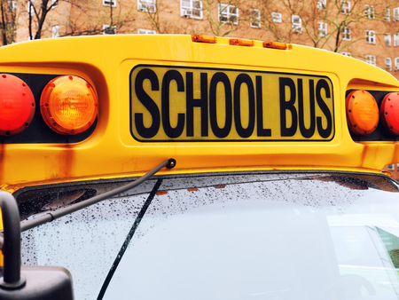 School bus sign close up