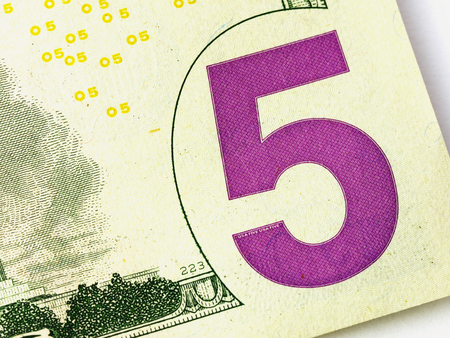 Five US or USA Dollar Bill Close up