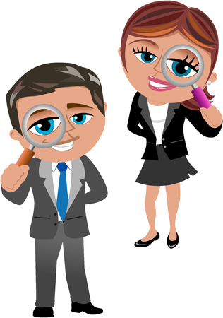 Businesswoman and businessman looking through magnifying glass isolated on white Ilustración de vector