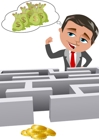 Confident daydreaming businessman with high expectations in front of a maze isolated on white