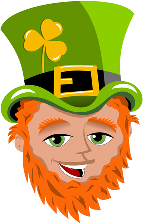 St. Patrick or Saint Patrick s face with tophat and golden shamrock isolated Ilustração
