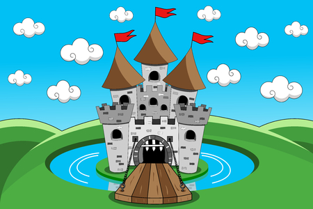 Cartoon castle with lift bridge down open gate and moat