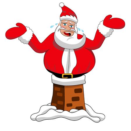 Santa Claus stuck in the chimney isolated Vektorgrafik