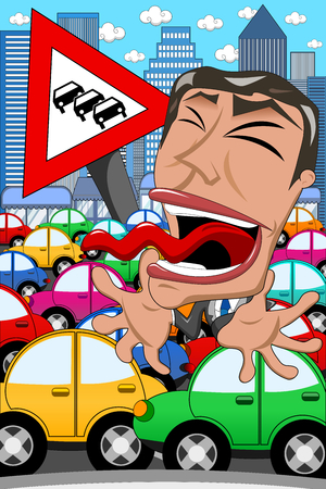 Caricature Businessman Screaming Traffic Jam