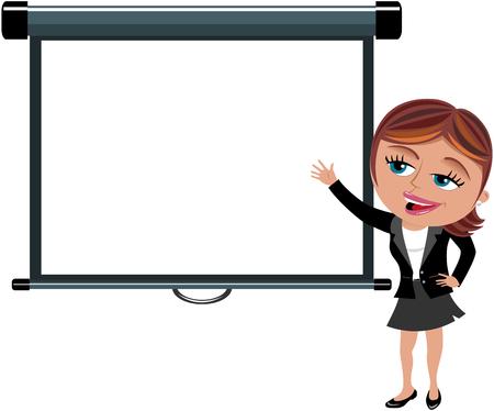 Empresaria que presenta la pantalla del proyector en blanco aislado