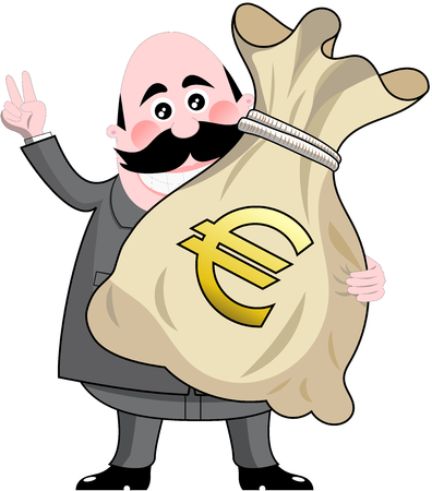 Happy cartoon businessman holding big sack full of money euro isolated Иллюстрация