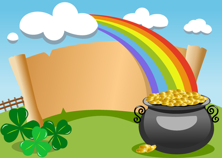 Parchment with Saint Patricks legendary pot of gold at the end of the rainbow for St. Patricks or Saint Patrick s Day invitation card