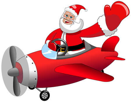 Santa Claus cartoon flying on airplane at Christmas isolated
