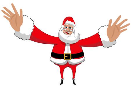 Santa Claus delivering big hug isolated