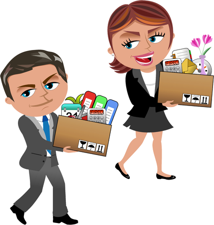 Fired Cartoon businesswoman and businessman carrying a box of personal items isolated on white