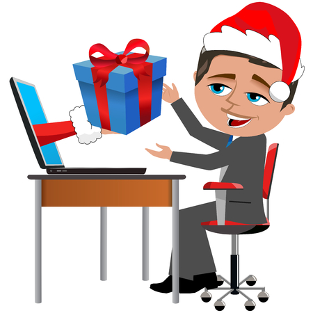 Businessman Receiving Gift Christmas at Office Desk isolated on white