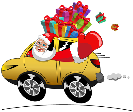 Happy Santa Claus in hurry driving car full of xmas gift isolated