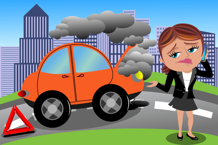 Frustrated Woman Broken Car