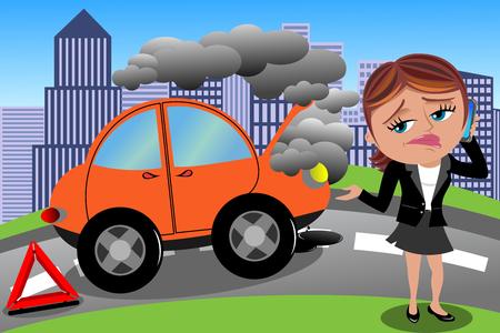 Frustré femme voiture cassée