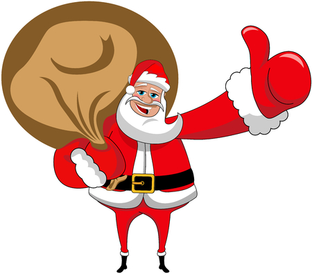 Santa Claus with big sack and thumb up isolated