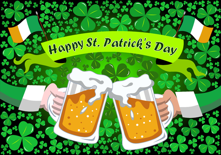 Two arms clinking their beer steins for st. Patricks or Saint Patrick s Day celebration against background of shamrocks