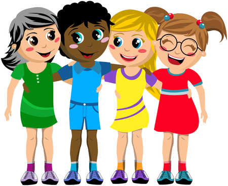 Group of happy multiculture kids or children standing and hugging isolated Иллюстрация