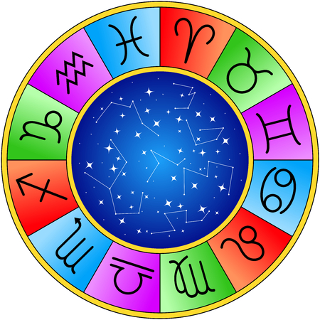 wheel of horoscope signs or symbols isolated