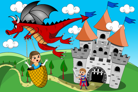 Red Dragon kidnapping little cute princess flying away while little knight try to stop it