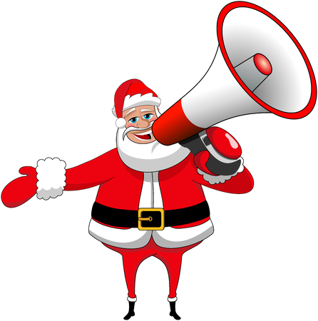 Santa Claus speaking in big megaphone isolated Stock Illustratie
