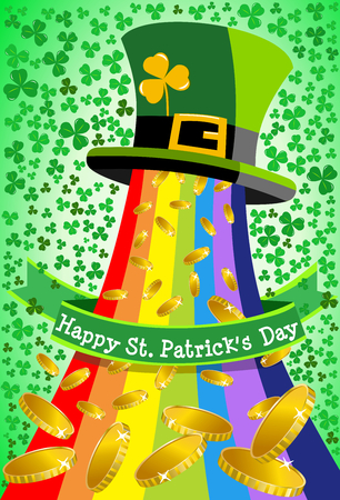 Leprechaun top hat from which rainbow and golden coins are spilled for St. Patricks or Saint Patrick s Day celebration