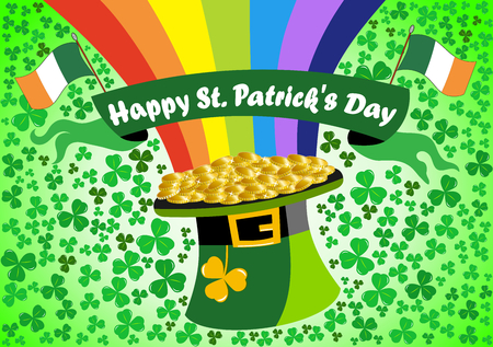 Leprechaun upturned hat at the end of the rainbow with Flags of Ireland for St. Patricks or Saint Patrick s Day celebration