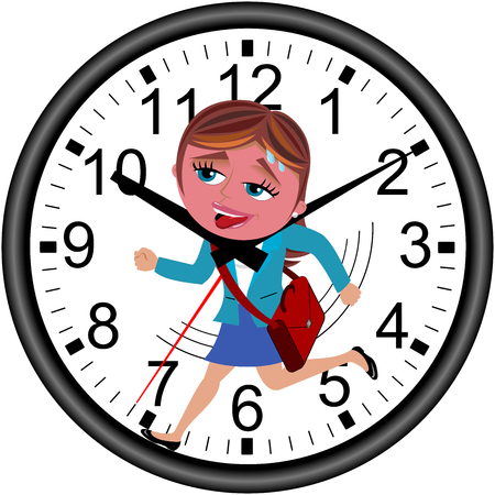 Red faced businesswoman running against time in a wall clock getting strangled by clock hands isolated