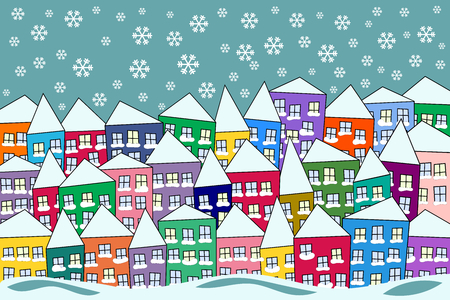 olorful packed naive village under snow