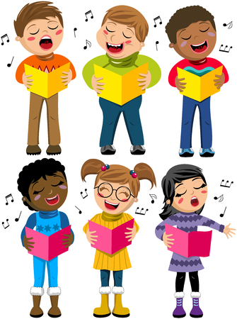 Happy multicultural kids or children standing and singing in a choir holding choir book isolated Illustration