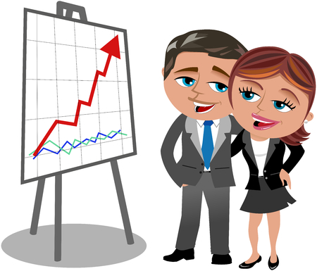 Happy Cartoon businesswoman and businessman looking at positive trend graph isolated on white