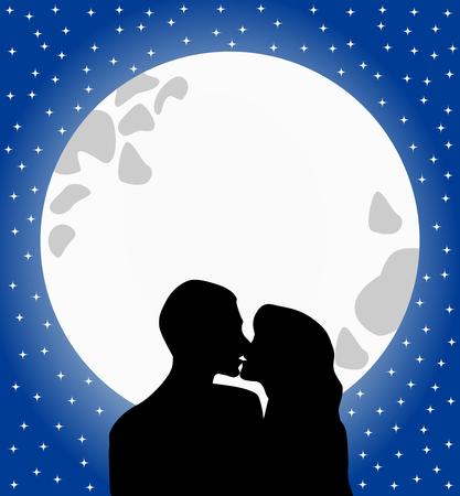 Silhouette von zwei Liebenden, die sich gegen Vollmond in einem romantischen Sternenhimmel küssen