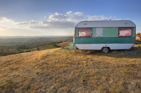 Vintage caravan in a rural area
