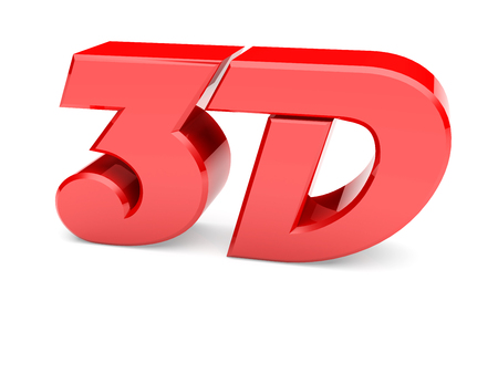 3d Illustration featuring red shiny and reflective 3d letters on white