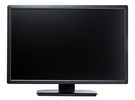 High-tech flatscreen 24 inch computer display in landscape orientation isolated