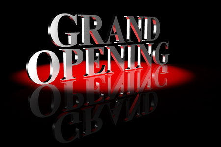 3d Illustration featuring silver elegant Grand Opening 3d text illuminated by red spot light on a black mirror surface against black background