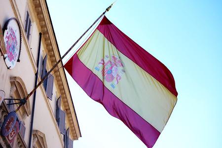 Spanish flag waving on spanish embassy in Rome Italy