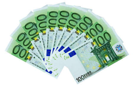 Frontal view fan of 100 euro banknotes isolated on white background