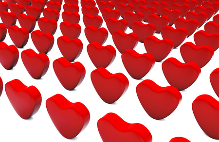 3d Illustration featuring red hearts aligned and upright placed on white Stock Photo