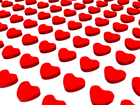 3d Illustration featuring red hearts aligned and upright placed on white 版權商用圖片