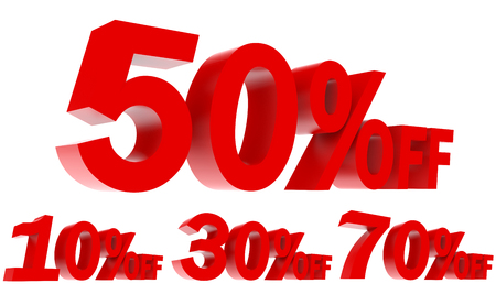 3d illustrations featuring red sales promotion percentage off 3d text on white