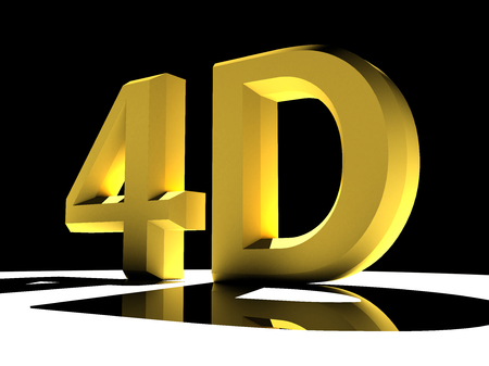 3d illustration featuring reflective 4d letters backlit on white background