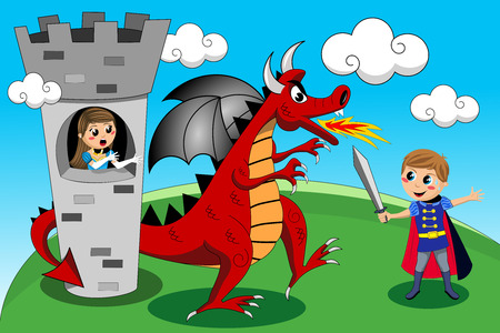 Medieval knight sword fighting against red dragon for releasing cute worried princess in the tower