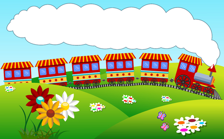 Colorful cartoon steam train riding over hilly landscape with big smoke cloud as copy space 스톡 콘텐츠