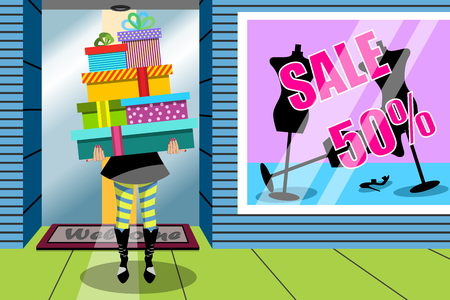 Shopping Woman Stack Gift Gifts Window Shop Imagens